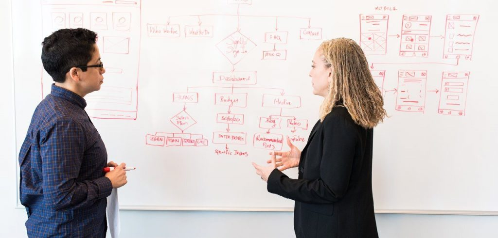 two women work out a marketing strategy on the white board