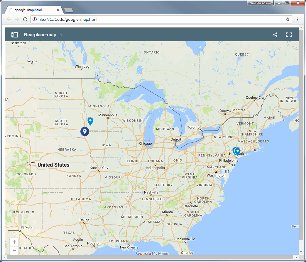 Google Maps Customization • NearPlace.com